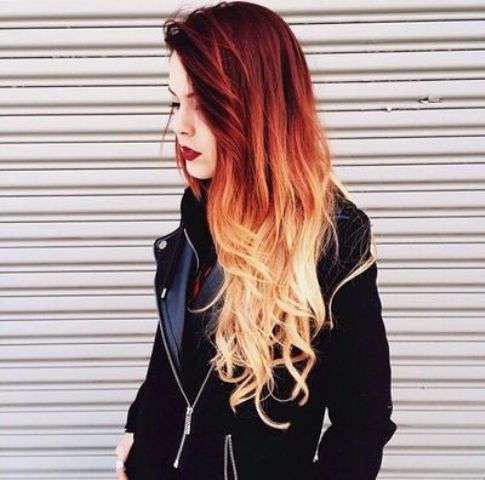 hot red to blonde ombre balayage hair