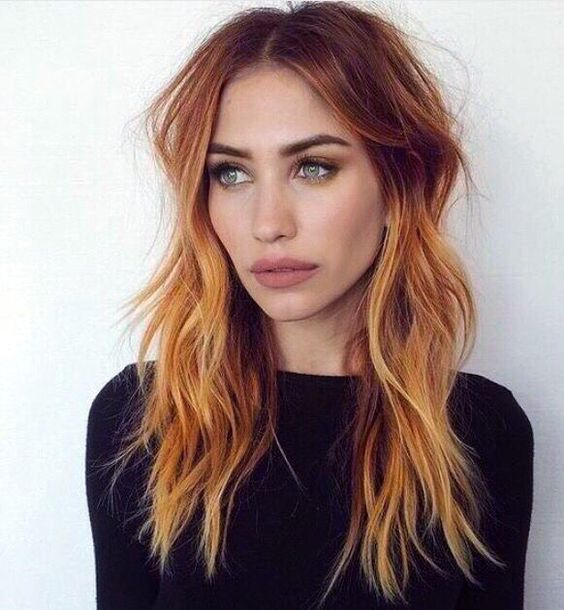 red hair with caramel and copper highlights