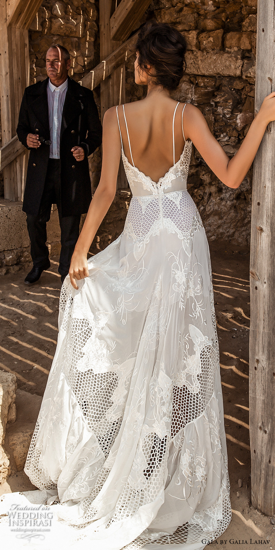 galia lahav gala 2017 bridal double thin strap deep sweetheart neckline full embroidered lace high slit skirt romantic modified a line wedding dress chapel train low back (808) bv