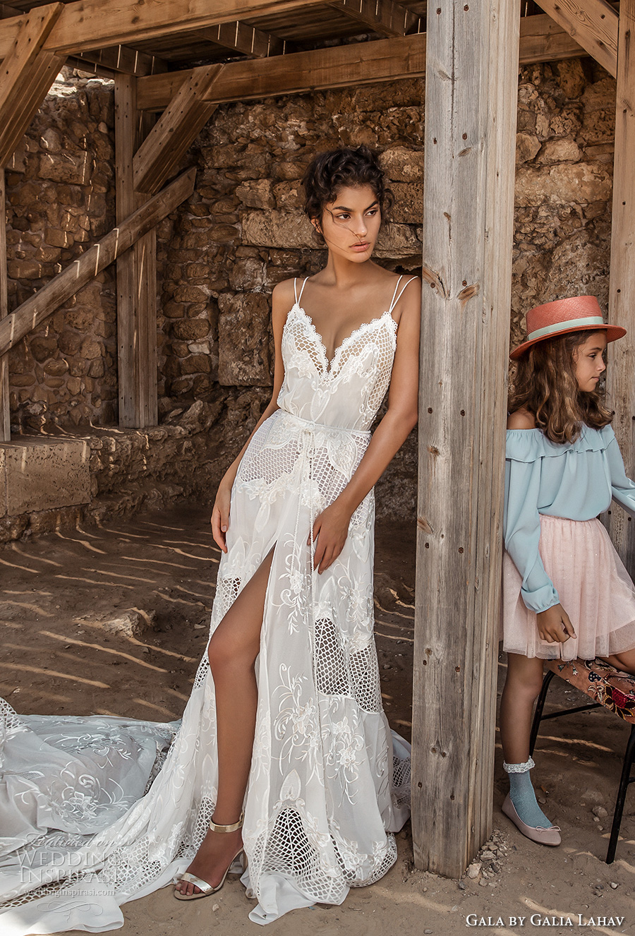 galia lahav gala 2017 bridal double thin strap deep sweetheart neckline full embroidered lace high slit skirt romantic modified a line wedding dress chapel train low back (808) mv