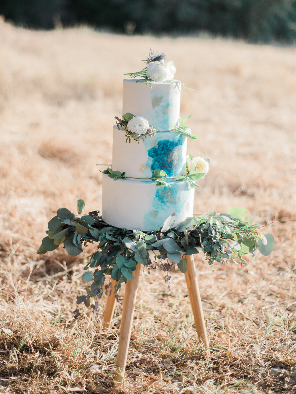 painted wedding cake - photo by Anya Kernes Photography http://ruffledblog.com/organic-wedding-inspiration-with-shades-of-blue