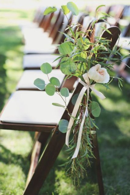 blush blooms and leaves for lining the aisle