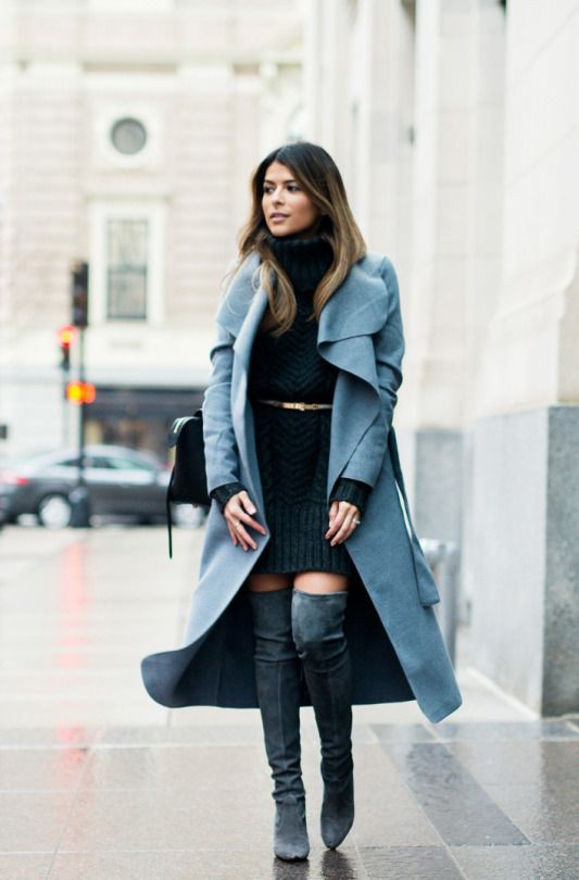 thigh high boots with a gorgeous pale blue maxi coat and a cute cable knit sweater dress