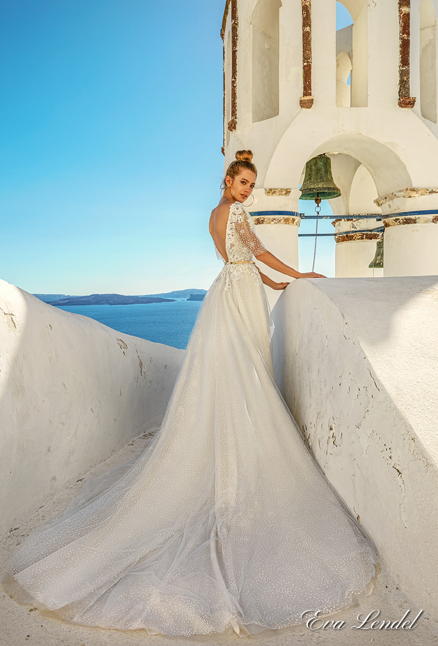 eva lendel 2017 bridal half cape sleeves illusion bateau sweetheart neckline heavily embellished bodice romantic a line wedding dress open v low back chapel train (white) bv