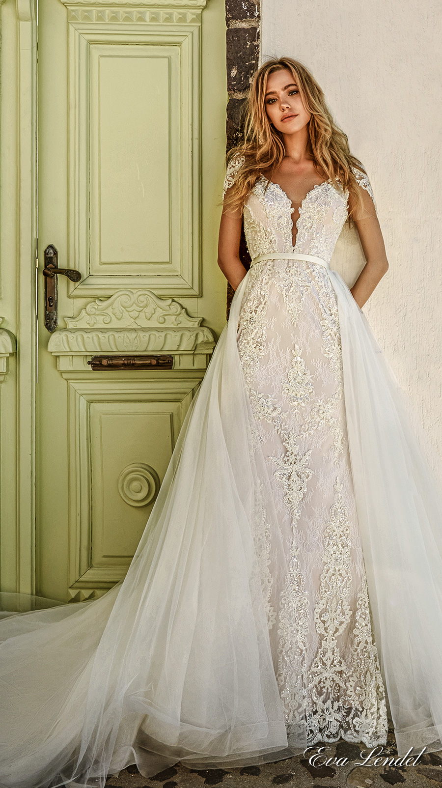 eva lendel 2017 bridal short sleeves deep plunging v neckline full embellishment elegant glamorous sheath wedding dress a line overskirt open v back chapel train (tina) mv