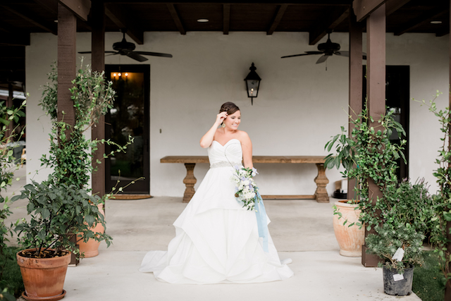 Layered classic wedding dress from Hayley Paige | Grey to Blue Photography