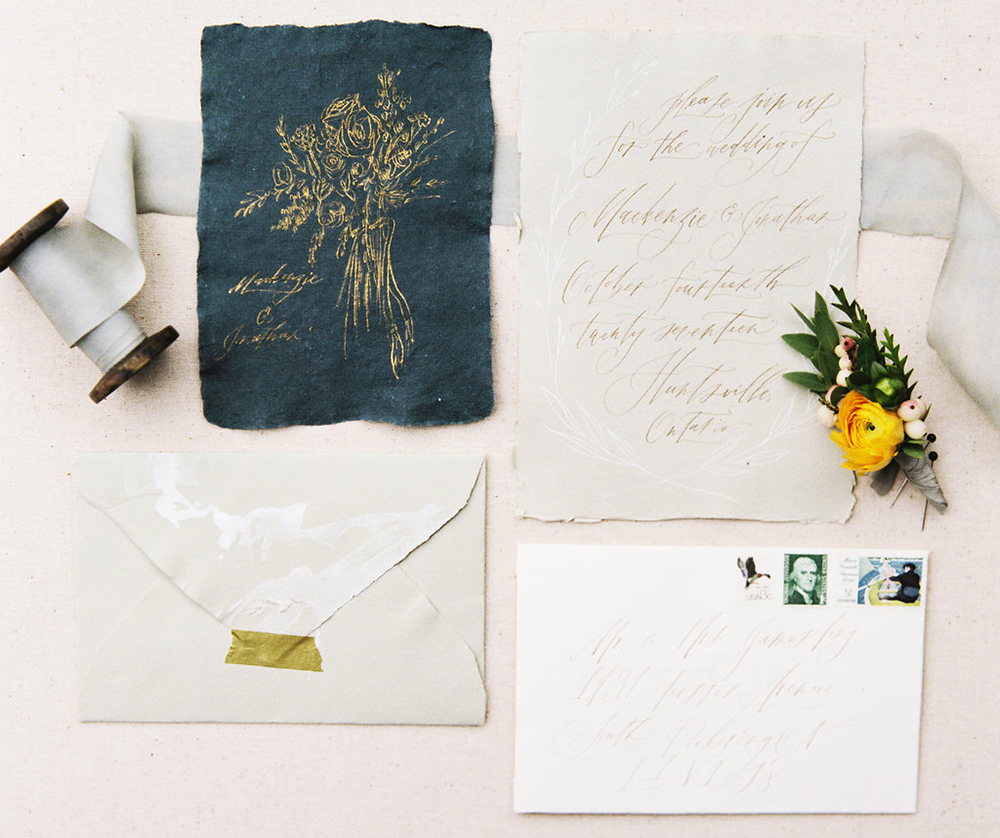 wedding stationery - photo by Evelyn Barkey Photography http://ruffledblog.com/romantic-elopement-inspiration-with-rich-colors
