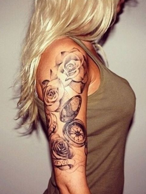 Flowers and watch tattoo