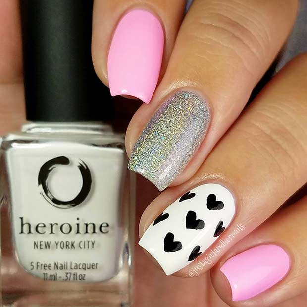 Simple Nail Art Design for Valentine's Day