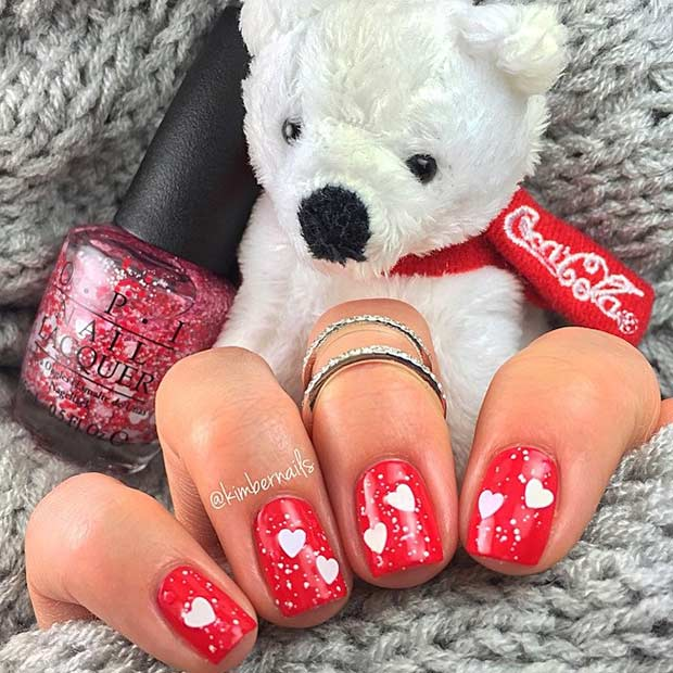Red and Silver Hearts Nail Design for Valentine's