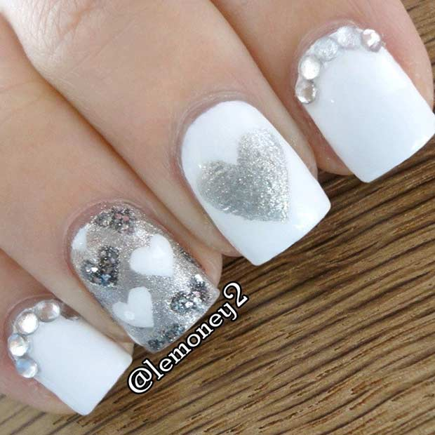 White and Silver Hearts Nail Art Design for Valentine's Day