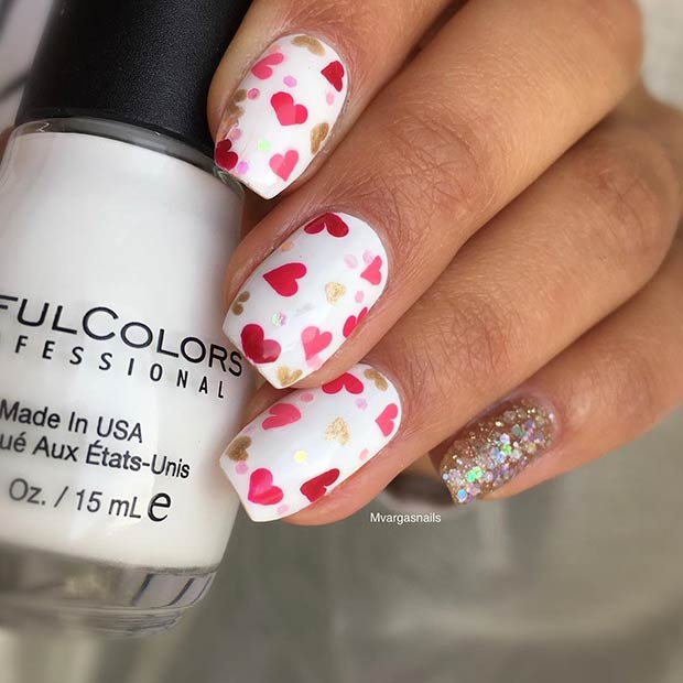 Cute Pink and Red Hearts Nail Art Design for Valentine's Day