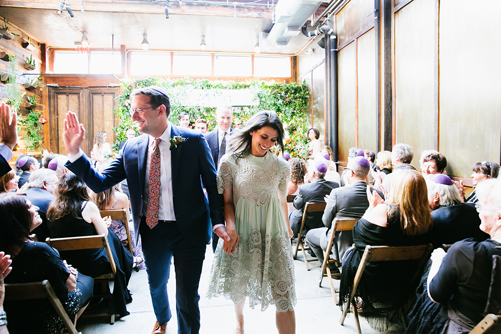 ceremony recessionals - photo by Levi Stolove Photography http://ruffledblog.com/botanical-wedding-with-a-mint-green-wedding-dress