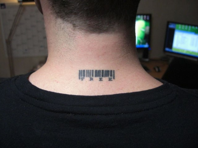 Bar code with word free tattoo