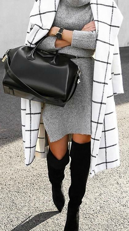 grind print coat, a grey sweater dress and black suede boots