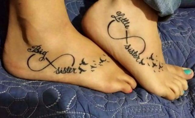 Tattoos with infinity sign, birds and words