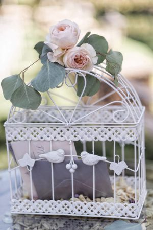 Bird cage wedding decor - William Innes Photography