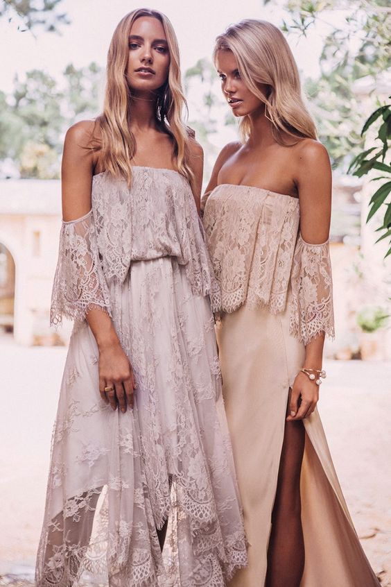 off the shoulder lace boho bridsmaids