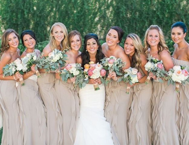 neutral ruffled bridesmaids