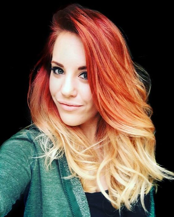fire red ombre hair to blonde