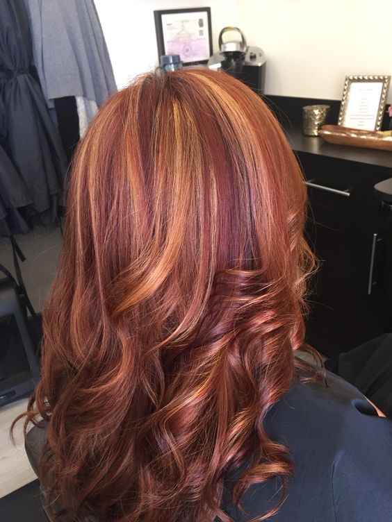 red hair with blonde highlights and violet low lights