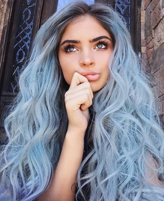 adorable long curly hair in light blue color