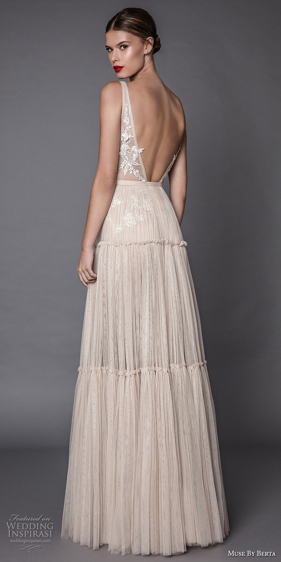 muse berta fall 2017 bridal sleeveless deep plunging v neck heavily embroidered bodice ivory color romantic sexy modified a line wedding dress open low back sweep train (annabel) bv