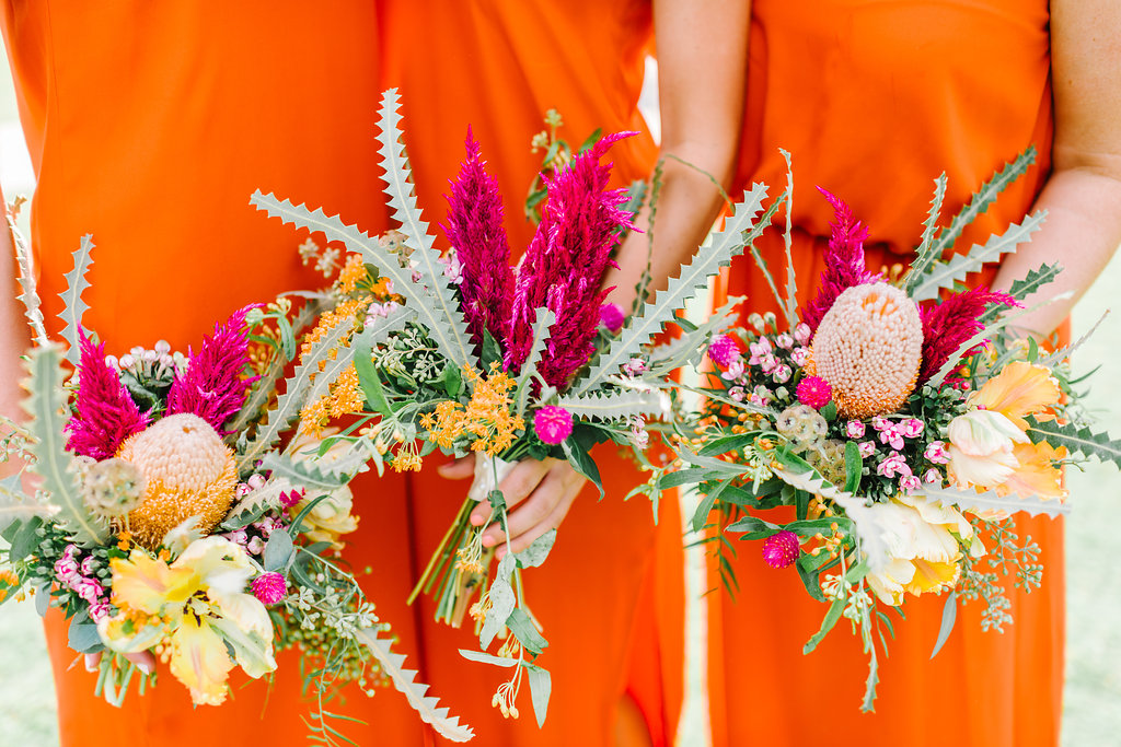 desert inspired bouquets - photo by Cathrine Taylor Photography http://ruffledblog.com/colorful-alabama-wedding-with-desert-accents