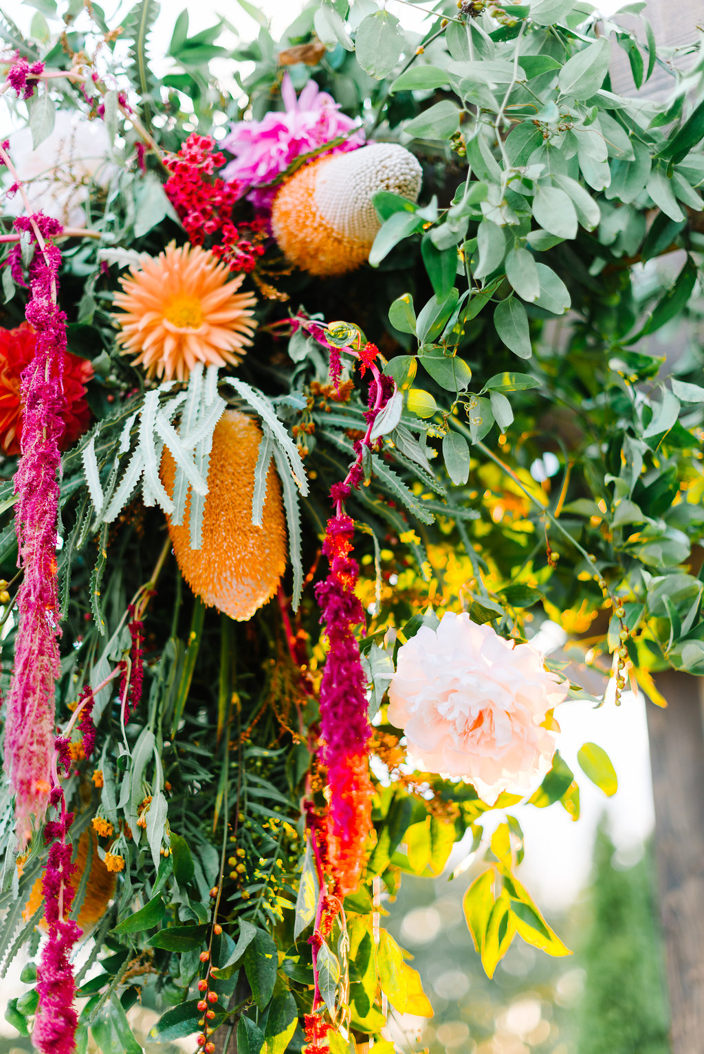 ceremony flowers - photo by Cathrine Taylor Photography http://ruffledblog.com/colorful-alabama-wedding-with-desert-accents