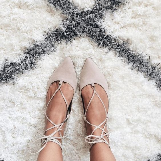 cream lace up flats are a trendy choice and they can be rocked any time