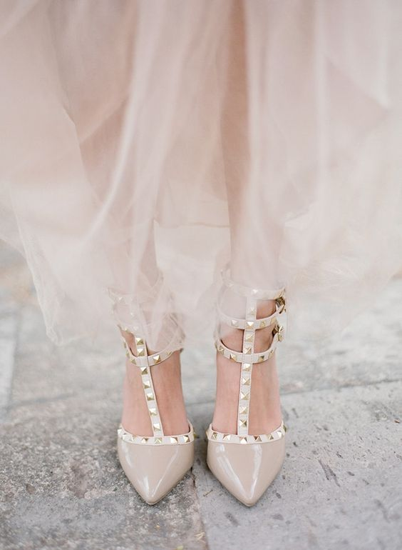 nude and cream Valentino studded shoes are a trendy choice