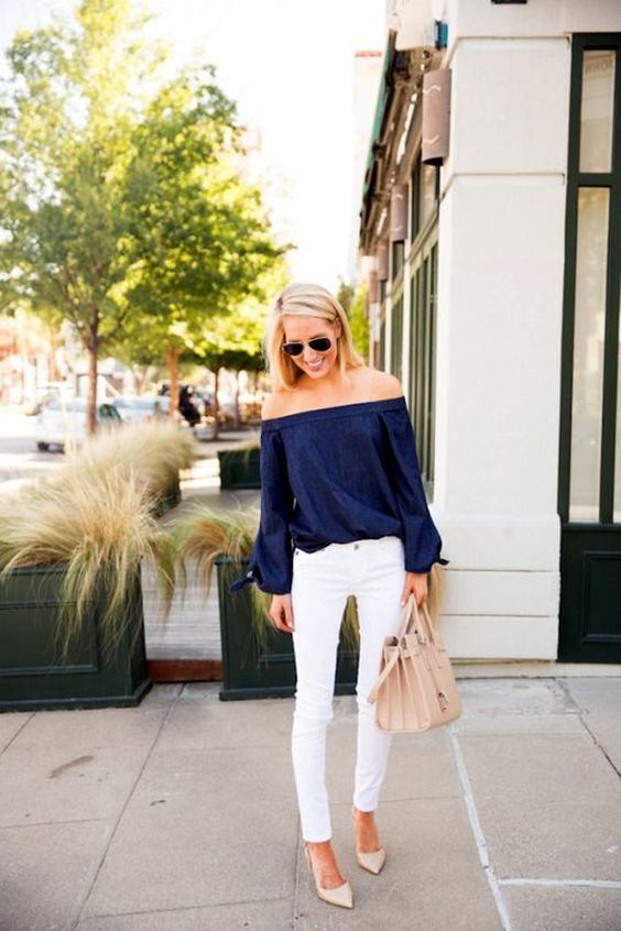 a navy off the shoulder top, white denim and nude heels