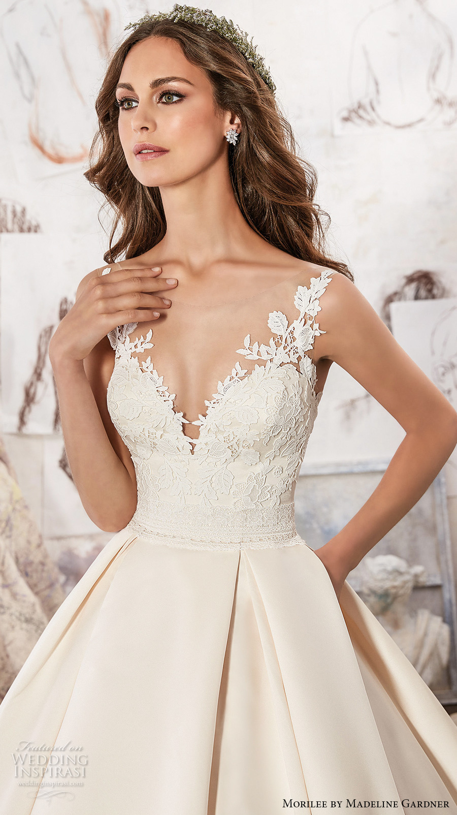 morilee spring 2017 bridal sleeveless embroidered strap heavily embellished bodice pleated skirt ivory color romantic a line wedding dress pockets open back royal train (5501) zv