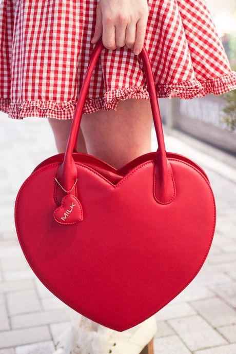 red heart-shaped tote