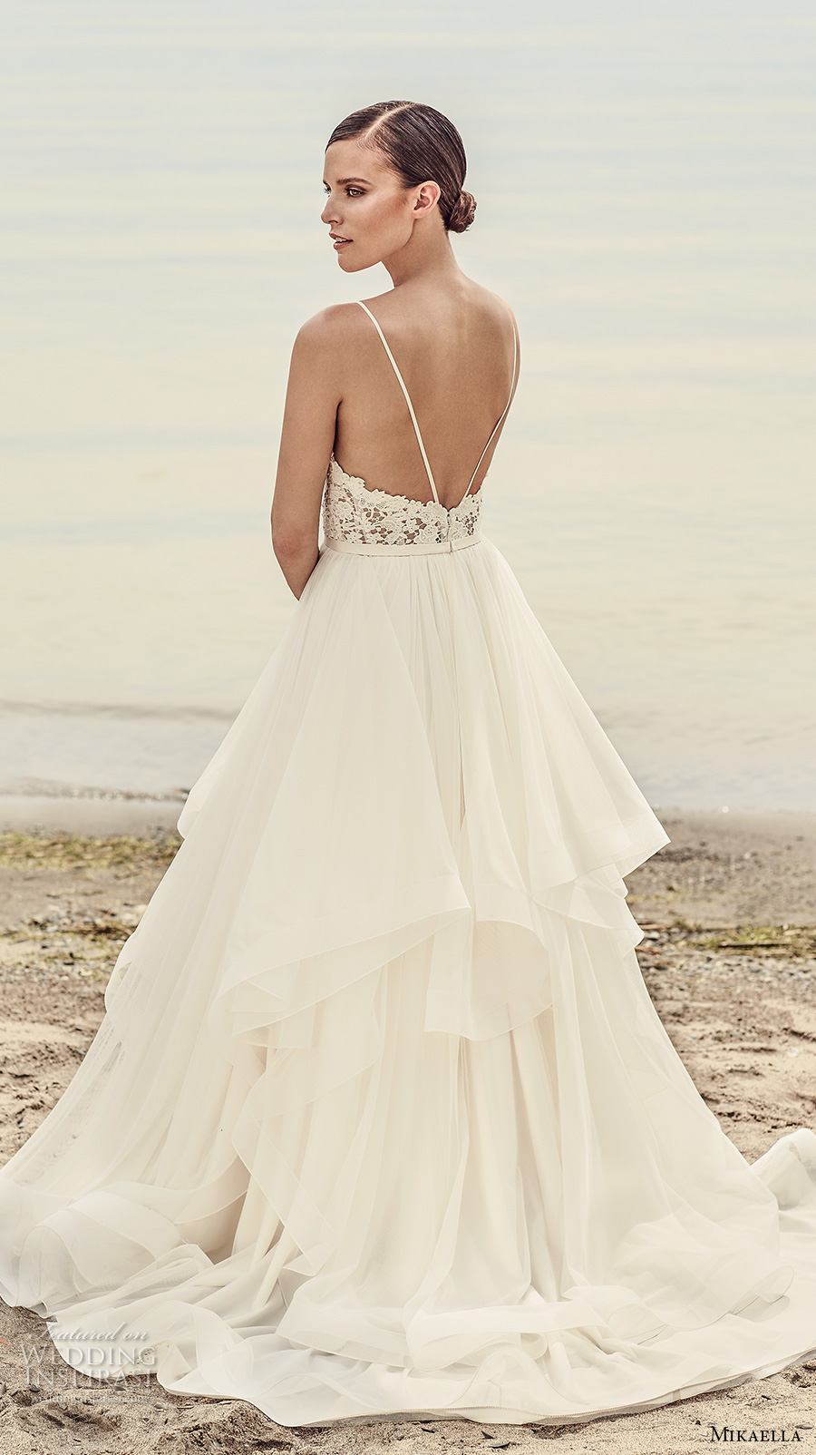 mikaella spring 2017 bridal spagetti strap sweetheart neckline heavily embellished bodice layered skirt romantic a line wedding dress open low back sweep train (2101) bv