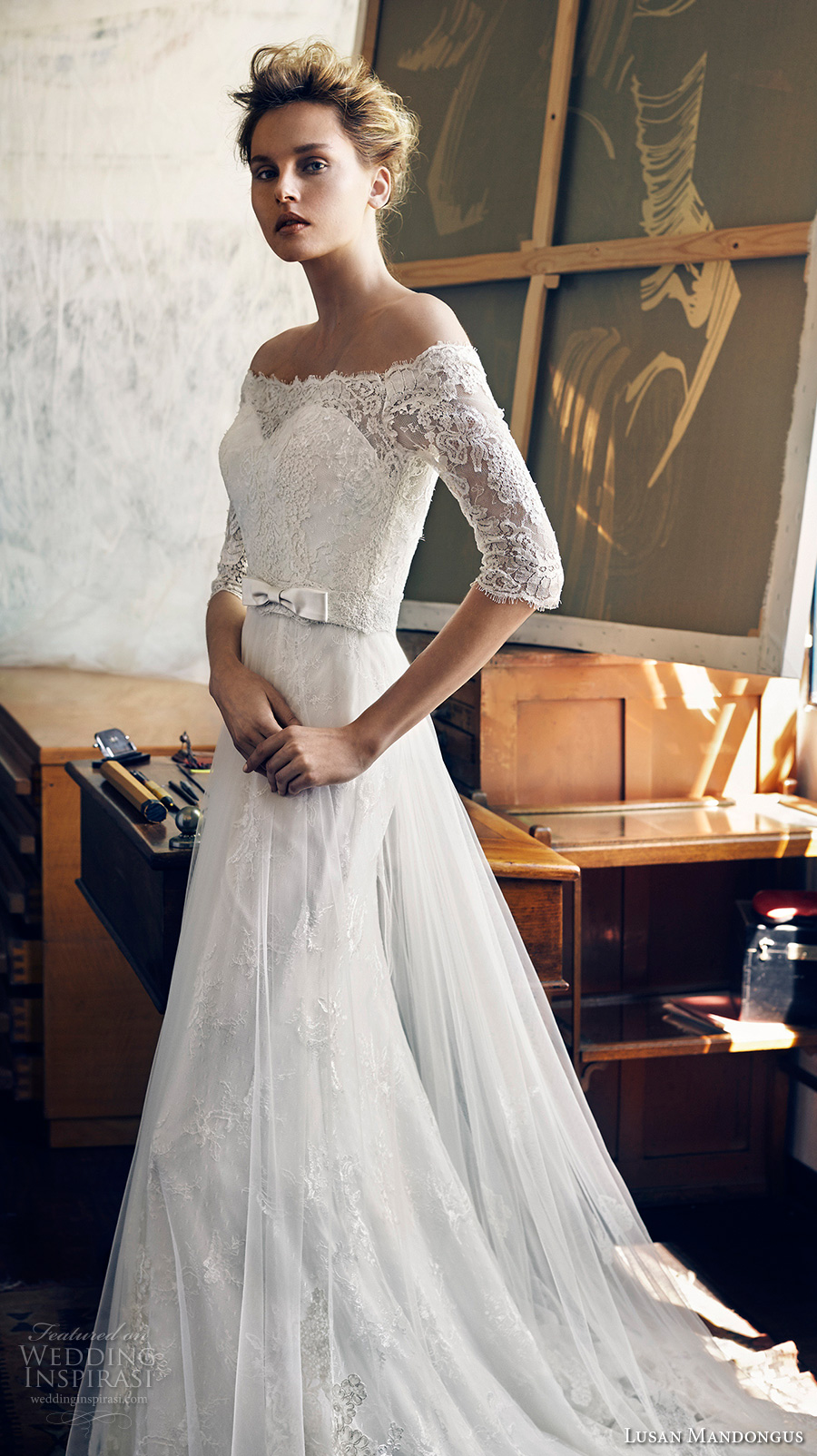 lusan mandongus 2017 bridal half sleeves off the shoulder illusion straight across sweetheart neckline heavily embellished bodice romantic covered lace back chapel train (zeta) mv