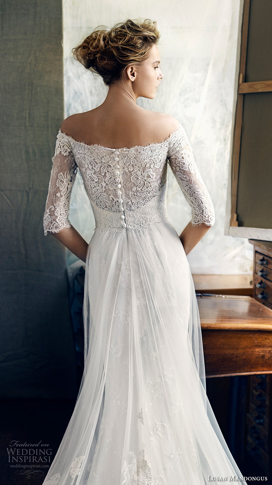 lusan mandongus 2017 bridal half sleeves off the shoulder illusion straight across sweetheart neckline heavily embellished bodice romantic covered lace back chapel train (zeta) zbv