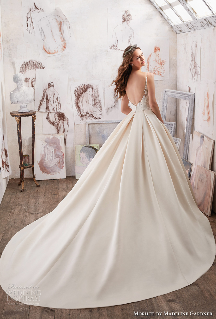 morilee spring 2017 bridal sleeveless embroidered strap heavily embellished bodice pleated skirt ivory color romantic a line wedding dress pockets open back royal train (5501) bv