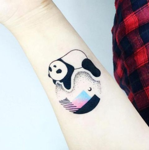 Cool panda tattoo on the arm