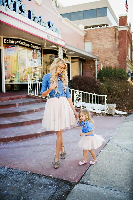 blush tutus, chambray shirts, shoes for the mom and flats for the girl