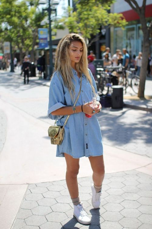 a chambray mini dress and white Vans