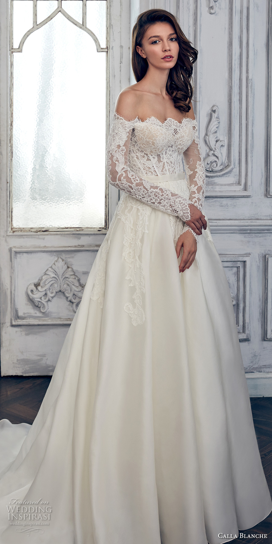 calla blanche spring 2017 bridal long sleeves off the shoulder scallop straight across neckline heavily embroidered bodice romantic a line wedding dress chapel train (17108) mv