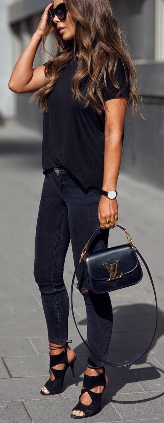 black jeans, a black tee and stunning black suede heels