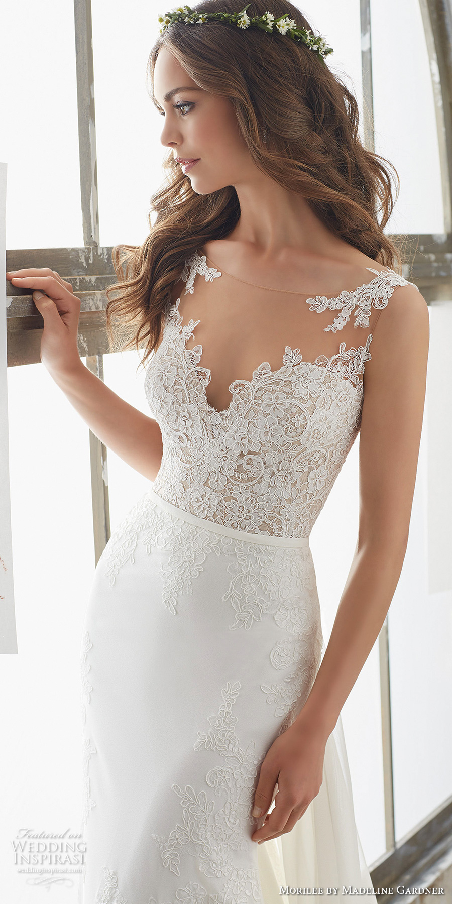 morilee spring 2017 bridal sleeveless sheer bateau sweetheart neckline heavily embellished bodice romantic fit and flare wedding dress modified a line overskirt open back chapel train (5503) zv