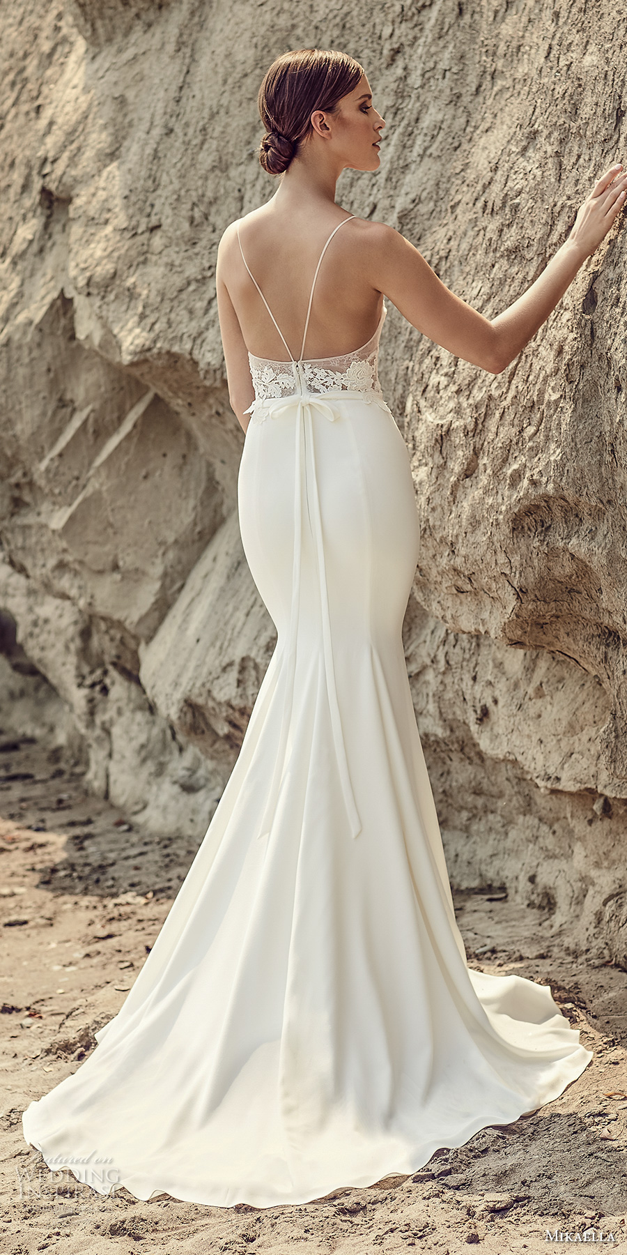 mikaella spring 2017 bridal spagetti strap sweetheat neck heavily embroidered bodice elegant fit fand flare wedding dress sweep train (2102) bv