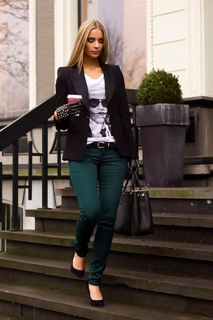With t-shirt, black jacket, bag, pumps and gloves