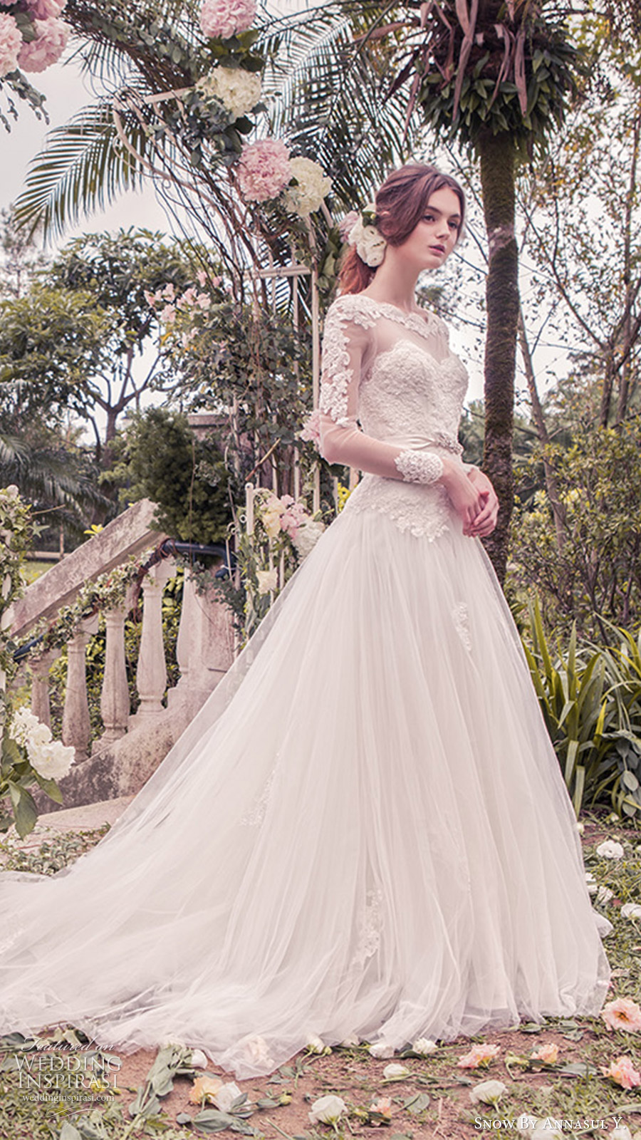snow annasul y 2017 bridal (sa3253b) long sleeves illusion bateau sweetheart lace bodice ball gown wedding dress zv romantic