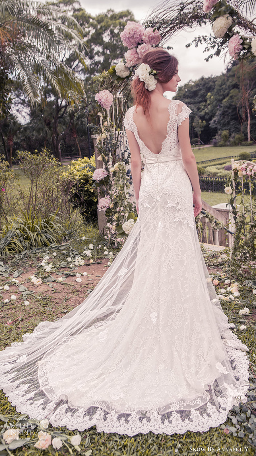 snow annasul y 2017 bridal (sa3265b) cap sleeves illusion bateau neck sweetheart trumpet lace wedding dress bv sheer train