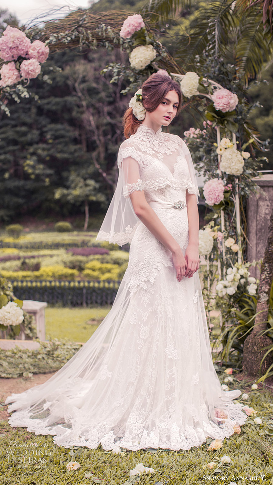 snow annasul y 2017 bridal (sa3265b with cape) cap sleeves illusion bateau neck sweetheart trumpet lace wedding dress mv