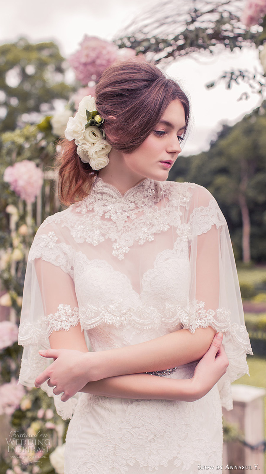 snow annasul y 2017 bridal (sa3265b with cape) cap sleeves illusion bateau neck sweetheart trumpet lace wedding dress zv high neck sheer capelet